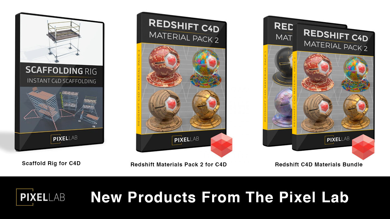 New: The Pixel Lab Redshift Materials Pack 2 for C4D, Plus