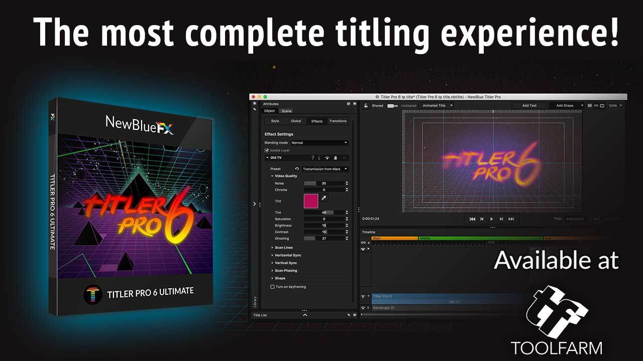 NewBlueFX Titler Pro 6 Now Available, Redshift, Freebies and More