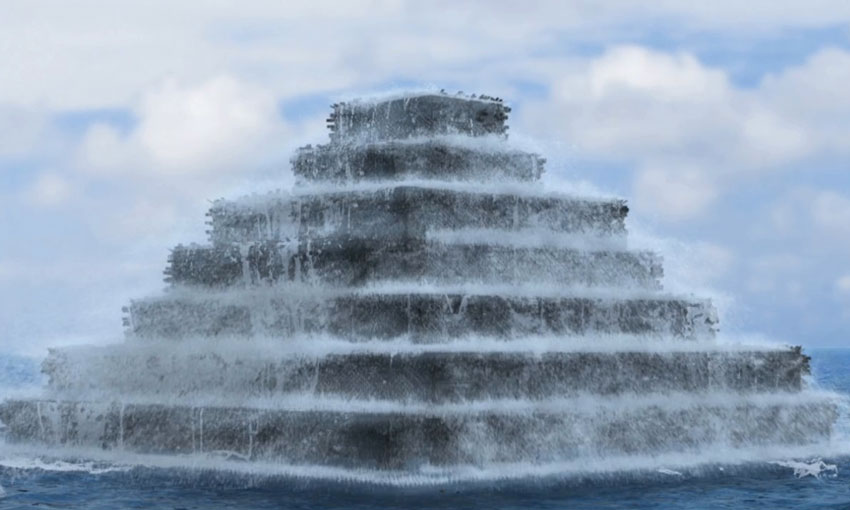 RealFlow: Water Displacement – Space Pyramid Rise